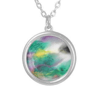 Abstract Design from Original Painting Silver Plated Necklace
