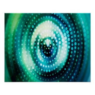 Abstract Design Green & White Concentric Circles Poster