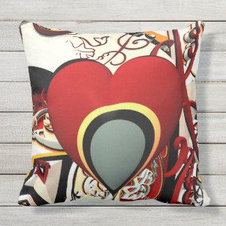 abstract design heart fractal throw pillow