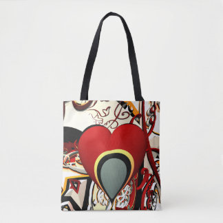 abstract design heart fractal tote bag