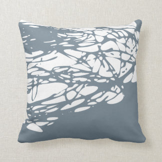 Abstract design in gray and white throw pillow