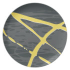 Abstract design in grey and yellow plate