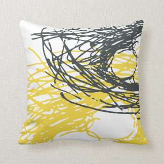 Abstract design in white and yellow throw pillow