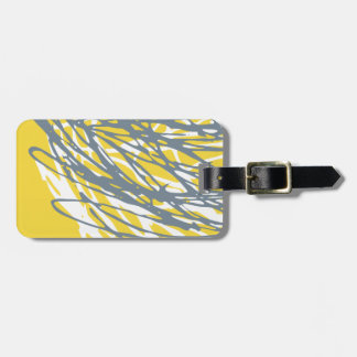 Abstract design in yellow, gray and white luggage tag