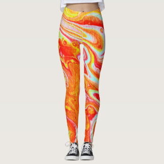 Abstract Design Leggings - Lava Flow