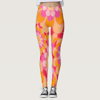 Abstract Design Pink Floral Leggings