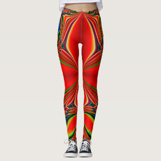 Abstract Design Red And Green Leggings