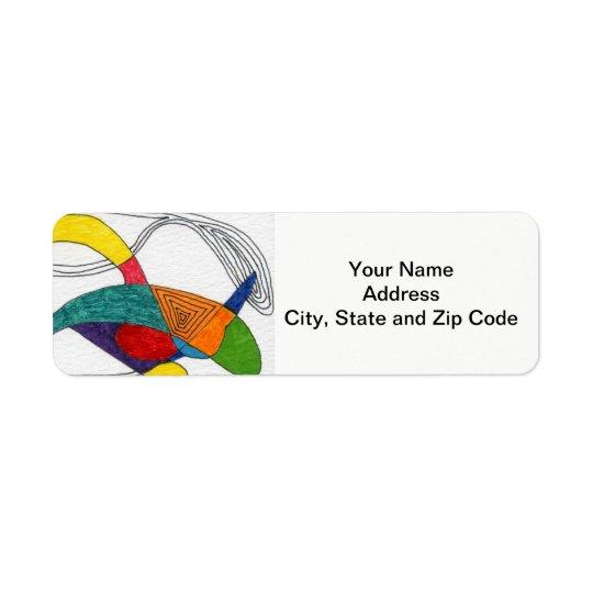 Abstract design return address label, boomerangs. return address label