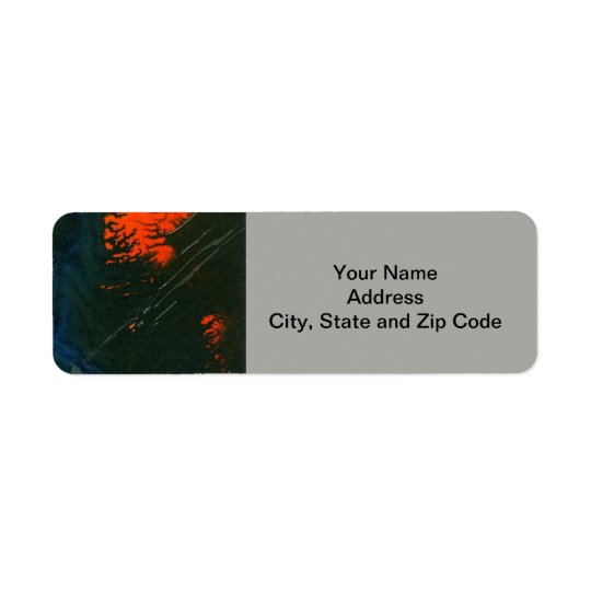 Abstract design return address label, swamp fire.