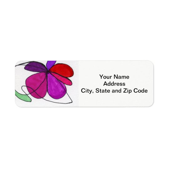Abstract design return address label, with floral.