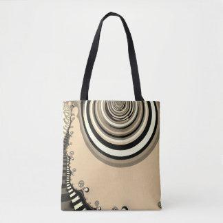 abstract design sepia fractal tote bag