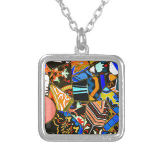 Abstract design silver plated necklace