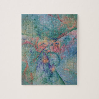 Abstract design with soft colors of peach and blue puzzles