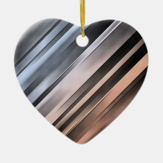 Abstract Diagonal Lines Ceramic Heart Ornament