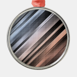 Abstract Diagonal Lines Metal Ornament