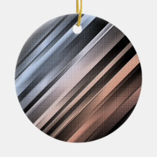 Abstract Diagonal Lines Round Ceramic Ornament