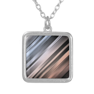 Abstract Diagonal Lines Silver Plated Necklace