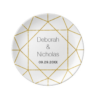 Abstract diamond jewel gold white modern wedding porcelain plates