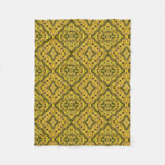 Abstract Diamond Shapes Yellow And Black Pattern Fleece Blanket