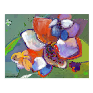 Abstract Digital Flowers   Postcard 5