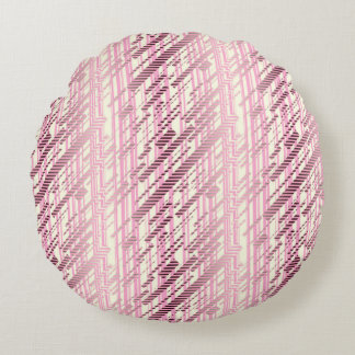 ABSTRACT DISTRESSED BRUSHED STRIPES, Purple Round Pillow