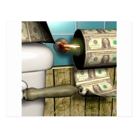 Abstract Dollar Toilet Bills Postcard