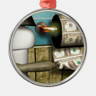 Abstract Dollar Toilet Bills Silver-Colored Round Ornament