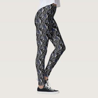Abstract Doodle Art in Grey/Blue Legging