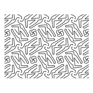 Abstract doodle pattern postcard