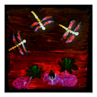 Abstract Dragonfly Lily pond Print