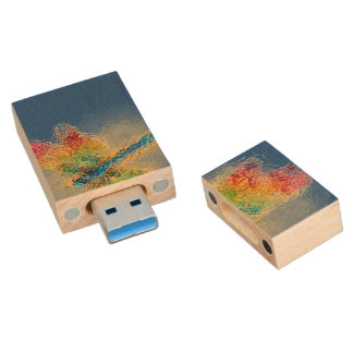 Abstract Dragonfly Wood USB Flash Drive