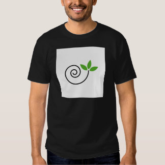 Abstract drawing of a cute snail with green leaves tshirt