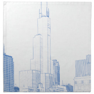 Abstract Drawing of Chicago No1 Napkin