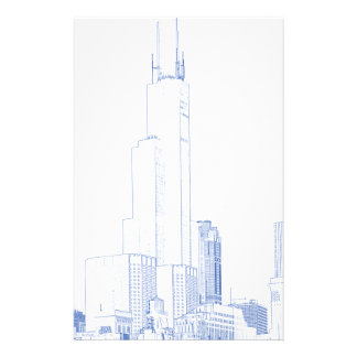Abstract Drawing of Chicago No1 Stationery