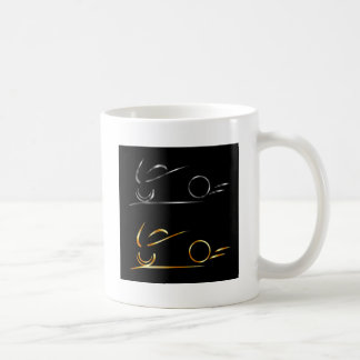 Abstract drawing of motorbike classic white coffee mug
