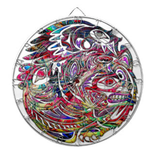 Abstract Eagle Bass and Bear Tribal Art Dartboard