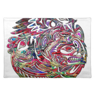 Abstract Eagle Bass and Bear Tribal Art Placemat