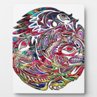Abstract Eagle Bass and Bear Tribal Art Plaque