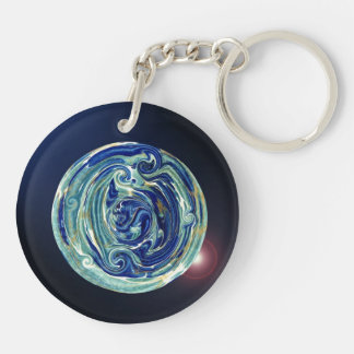 Abstract Earth Planet Keychain