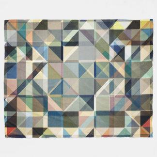 Abstract Earth Tone Grid Fleece Blanket
