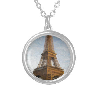 abstract eiffel tower silver plated necklace