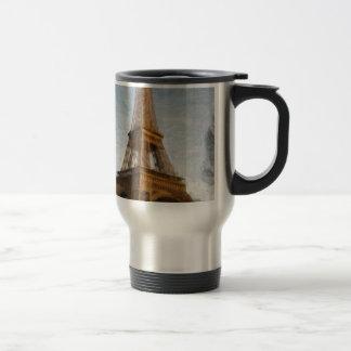 abstract eiffel tower travel mug