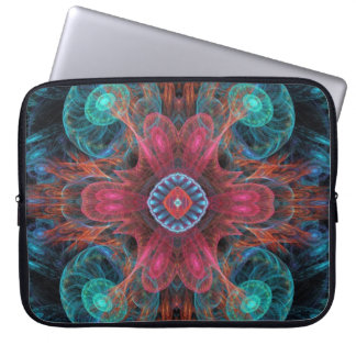 Abstract Electric Jellyfish Cool Fractal blue red Laptop Sleeve