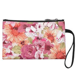 Abstract Elegant Floral design Wristlet Purse