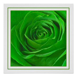Abstract Emerald Green Rose Center Photograph Poster
