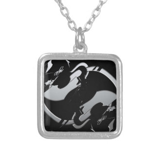 Abstract Equestrian Jumper Silver Plated Necklace