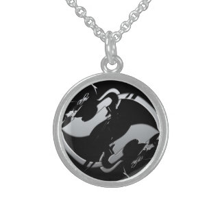 Abstract Equestrian Jumper Sterling Silver Necklace