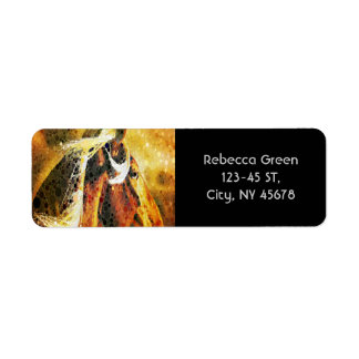 Abstract equestrian western country horse return address label
