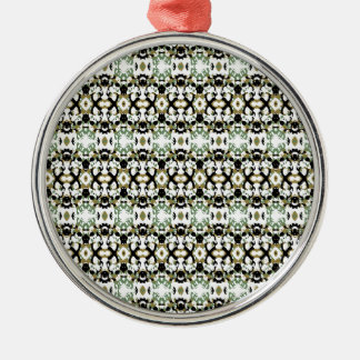 Abstract Ethnic Camouflage Silver-Colored Round Ornament