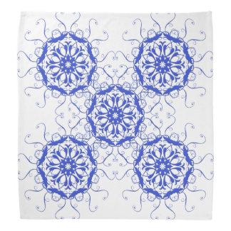 abstract ethnic circles blue element bandana